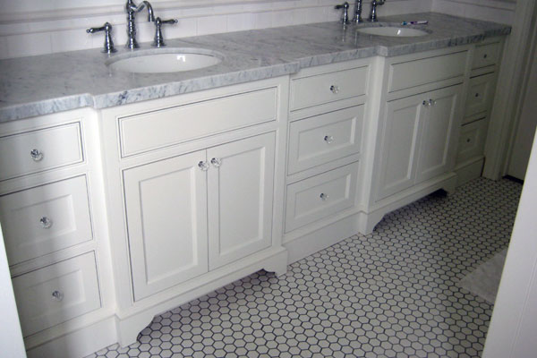 white inset panle master bath custom baths 2 walnut vanity - Bathroom Cabinets Los Angeles