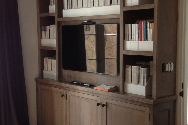 Custom White Oak TV Bookcase