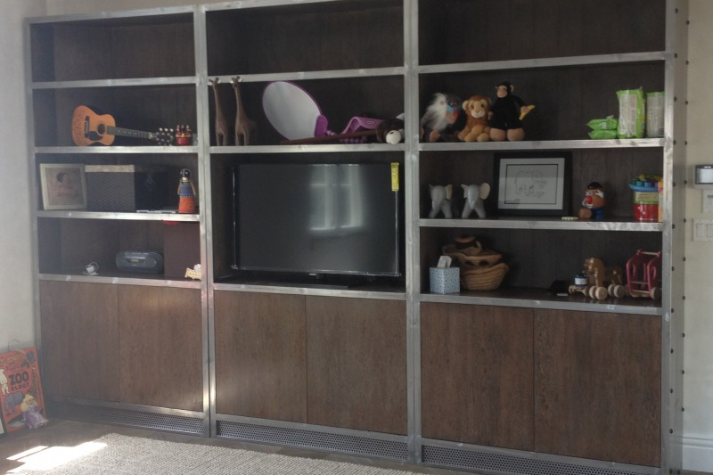 Metal Framed White Oak Plank Back TV Toy Cabinet